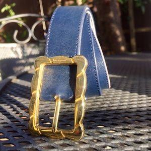 Ferragamo • 💯 Authentic Blue Leather Belt